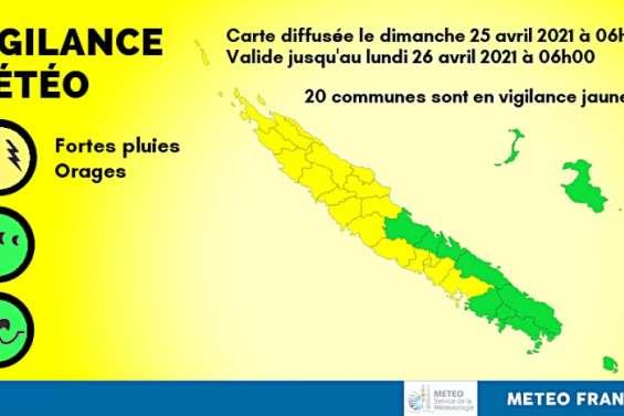 Vingt communes en vigilance jaune orages et pluies