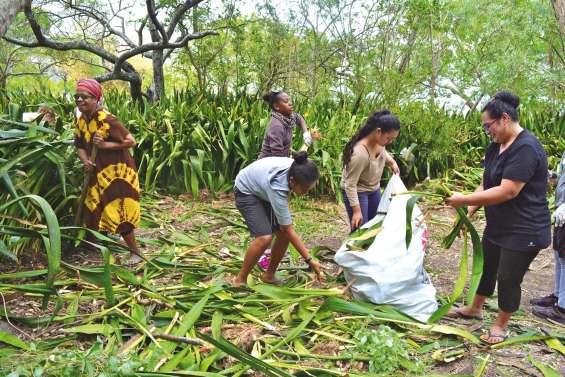 Les volontaires travaillent  d'arrache-pied à Onghoué
