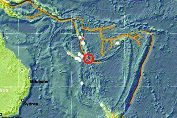 Un Séisme de magnitude 6,7 au sud-est des Loyauté