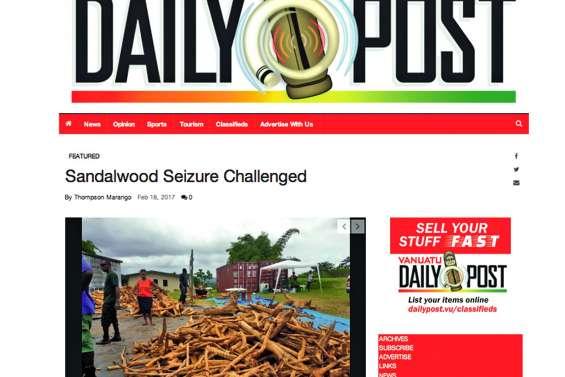 Le bois de santal saisi au Vanuatu sera restitué