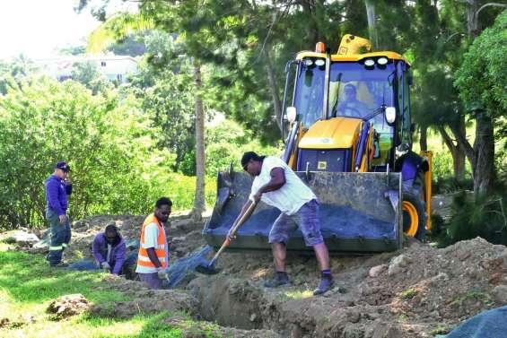 Le chantier du parc urbain va bon train le long de la mangrove