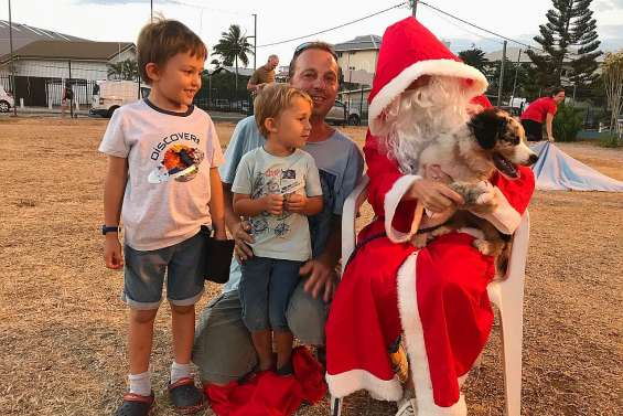 Le père Noël récompense les chiots qui ont été assidus à l'école