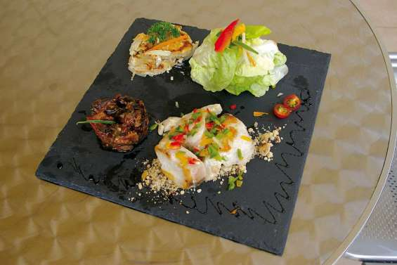 Filet de tazar et caponata d'aubergine