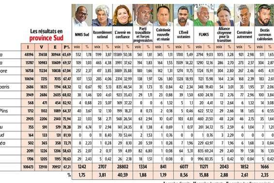 Résultats et réactions en province Sud
