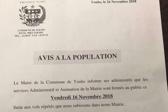 Touho : voiture municipale volée, mairie fermée pour la journée