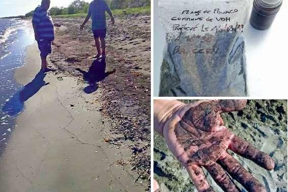 Une plage de Voh infestée  par des matières noires
